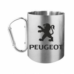 "Кружка с ручкой ""карабин"" Логотип Peugeot"