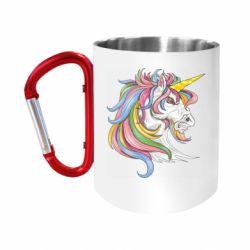 Кружка з ручкою-карабіном Кінь з кольоровою гривою