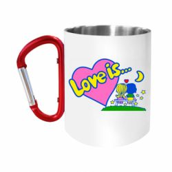 "Кружка с ручкой ""карабин"" Love is..."