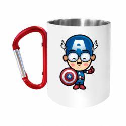 """Кружка с ручкой """"карабин"""" Маленький Капитан Америка"""