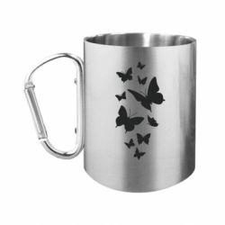 Кружка з ручкою-карабіном Many butterflies