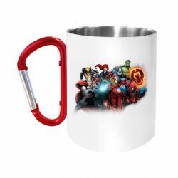 Кружка з ручкою-карабіном Marvel team