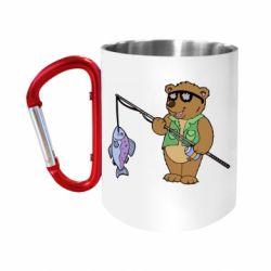 Кружка з ручкою-карабіном Ведмідь ловить рибу