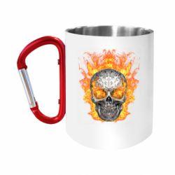 "Кружка с ручкой ""карабин"" Metal skull in flame of fire"