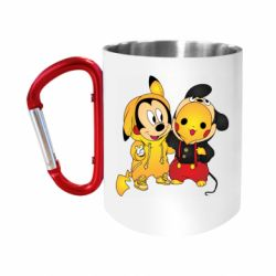 "Кружка с ручкой ""карабин"" Mickey and Pikachu"