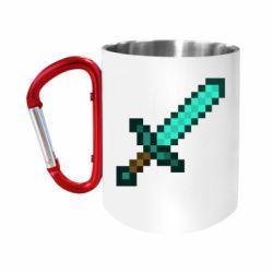 Кружка з ручкою-карабіном Minecraft меч