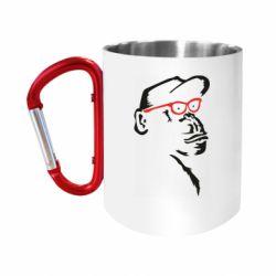 Кружка з ручкою-карабіном Monkey in red glasses