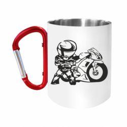 """Кружка с ручкой """"карабин"""" Мотоциклист"""