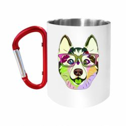 Кружка з ручкою-карабіном Multi-colored dog with glasses