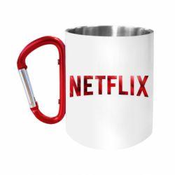 """Кружка с ручкой """"карабин"""" Netflix logo text"""