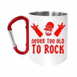 "Кружка с ручкой ""карабин"" Never old to rock (Gomer)"