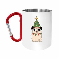 Кружка з ручкою-карабіном New Year's Pug