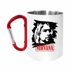 """Кружка с ручкой """"карабин"""" Nirvana Kurt Cobian"""