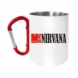 """Кружка с ручкой """"карабин"""" Nirvana смайл"""