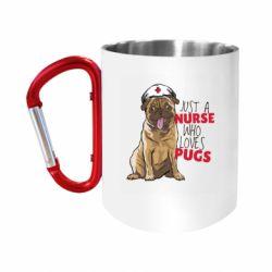 """Кружка с ручкой """"карабин"""" Nurse loves pugs"""