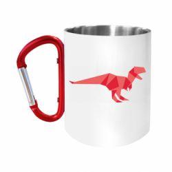 """Кружка с ручкой """"карабин"""" Origami dinosaur"""