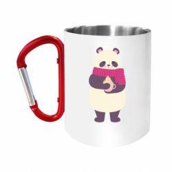 """Кружка с ручкой """"карабин"""" Panda and Cappuccino"""