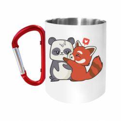 Кружка з ручкою-карабіном Panda and fire panda