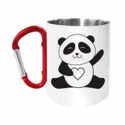 Кружка з ручкою-карабіном Panda and heart