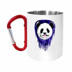 "Кружка с ручкой ""карабин"" Panda on a watercolor stain"