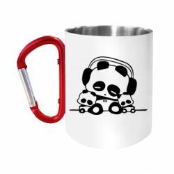 """Кружка с ручкой """"карабин"""" Панда в наушниках"""