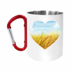 Кружка з ручкою-карабіном Пейзаж України в серце