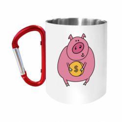 Кружка з ручкою-карабіном Pig and $