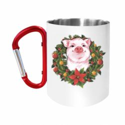 Кружка з ручкою-карабіном Pig with a Christmas wreath
