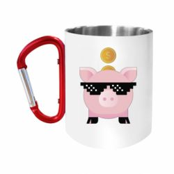 Кружка з ручкою-карабіном Piggy bank