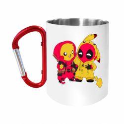 "Кружка с ручкой ""карабин"" Pikachu and deadpool"