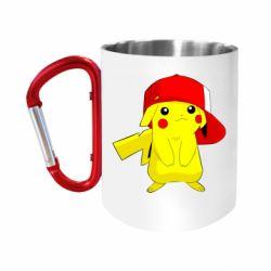 """Кружка с ручкой """"карабин"""" Pikachu in a cap"""