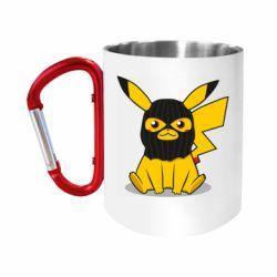 Кружка з ручкою-карабіном Pikachu in balaclava