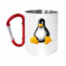 Кружка з ручкою-карабіном Пингвин Linux