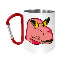 Кружка з ручкою-карабіном Pink dinosaur with glasses head