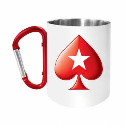 Кружка з ручкою-карабіном Poker Stars 3D Logo
