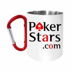 """Кружка с ручкой """"карабин"""" Poker Stars"""