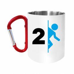 """Кружка с ручкой """"карабин"""" Portal 2 logo"""