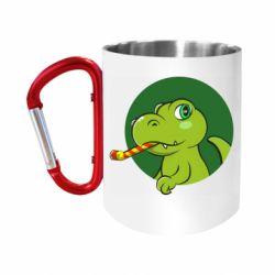 Кружка з ручкою-карабіном Святковий динозавр