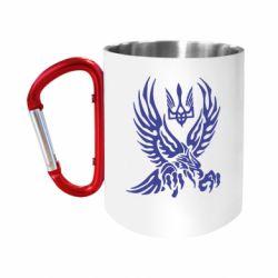 Кружка з ручкою-карабіном Птах та герб
