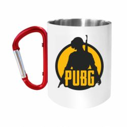 "Кружка с ручкой ""карабин"" PUBG logo and game hero"