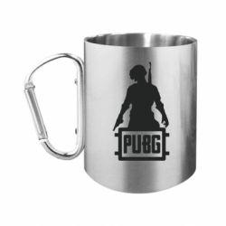 """Кружка с ручкой """"карабин"""" PUBG logo and hero"""