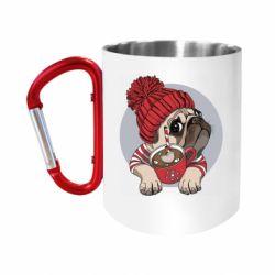 Кружка з ручкою-карабіном Pug And Coffee