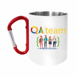 """Кружка с ручкой """"карабин"""" QA+TEAM"""