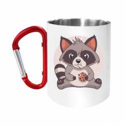 Кружка з ручкою-карабіном Raccoon with cookies