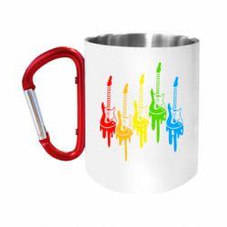 """Кружка с ручкой """"карабин"""" Разноцветные гитары"""