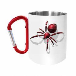 Кружка з ручкою-карабіном Red spider