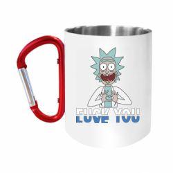 """Кружка с ручкой """"карабин"""" Rick fuck you"""