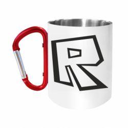 Кружка з ручкою-карабіном Roblox minimal logo