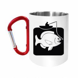 Кружка з ручкою-карабіном Риба на гачку