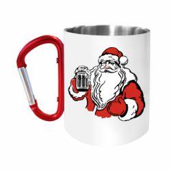 """Кружка с ручкой """"карабин"""" Santa Claus with beer"""